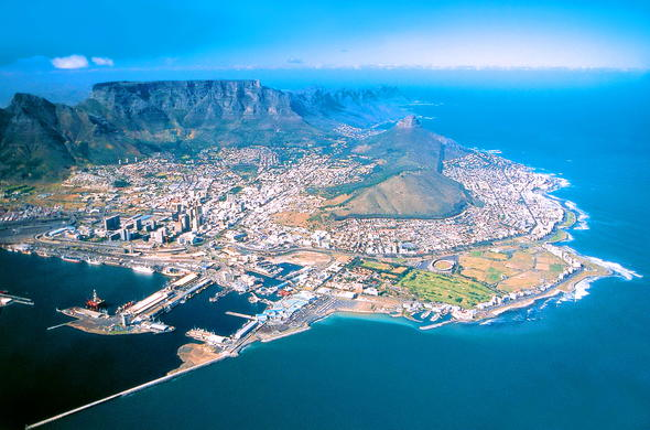 Aerial view of Cape town suburbs.