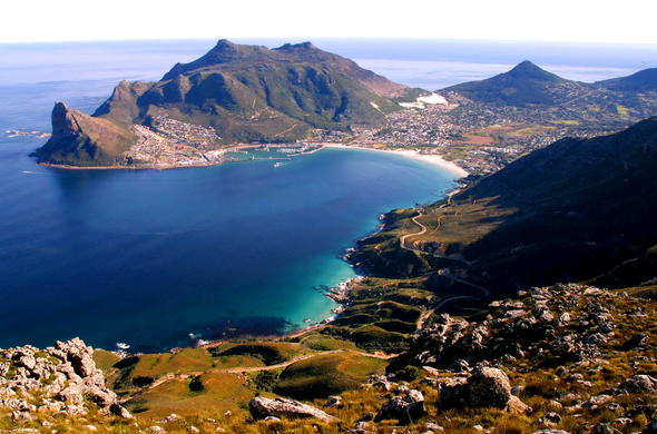 Aerial view of Hout Bay in Cape Town.