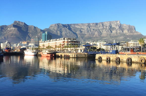 Cape Town Waterfront and Table Mountain view.