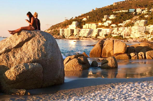 Clifton Beach in Cape Town at sunset.