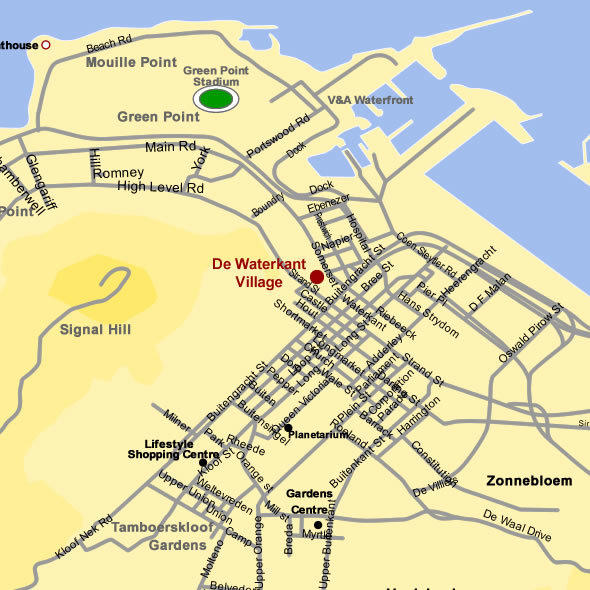 Map for Cape Town Luxury Holiday Apartments - De Waterkant Village D Village Map on