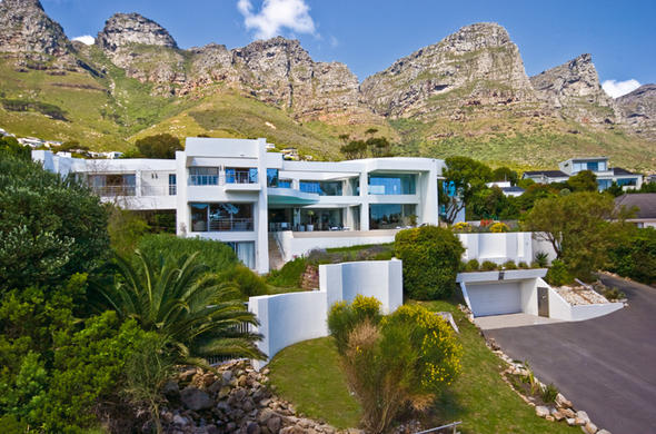 Exterior of Hollywood Mansion in Camps Bay, Cape Town.