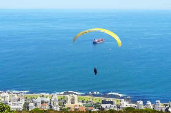 Paragliding off Signal Hill in Cape Town.
