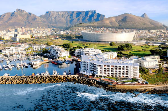 Scenic aerial view of the Radisson Blu Hotel Waterfront in Cape Town.