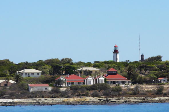 View of Robben Island as you approach by boat.