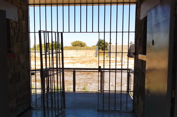 Bars of jail cell on Robben Island.