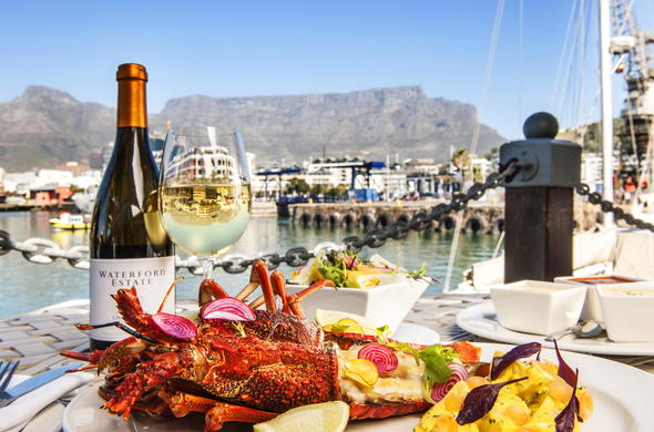 Seafood with a view at the Cape Town Waterfront.