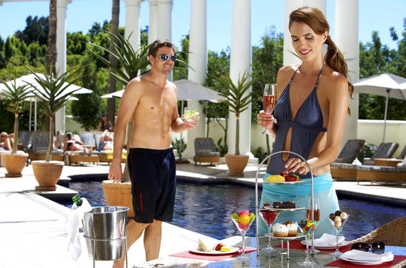 Indulge in some delicious snacks at the poolside.