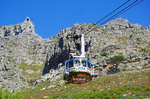 The Cable Car ascending Table Mountain in Cape Town.
