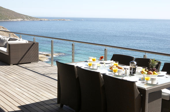 Breakfast is served with breathtaking views.