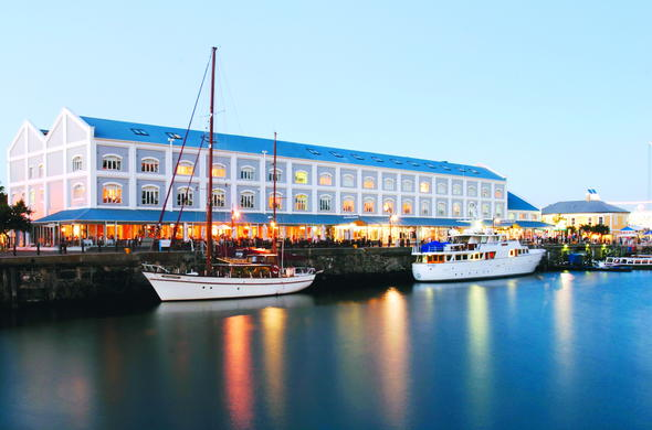 Exterior of Victoria & Alfred Hotel in the Cape Town Waterfront.