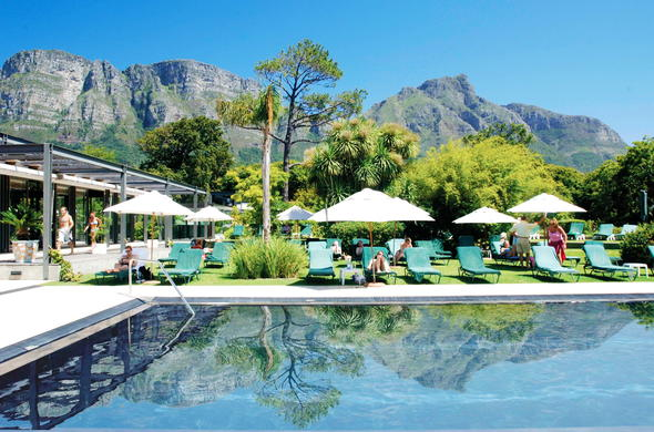 Vineyard Hotel pool area with comfortable lounges.